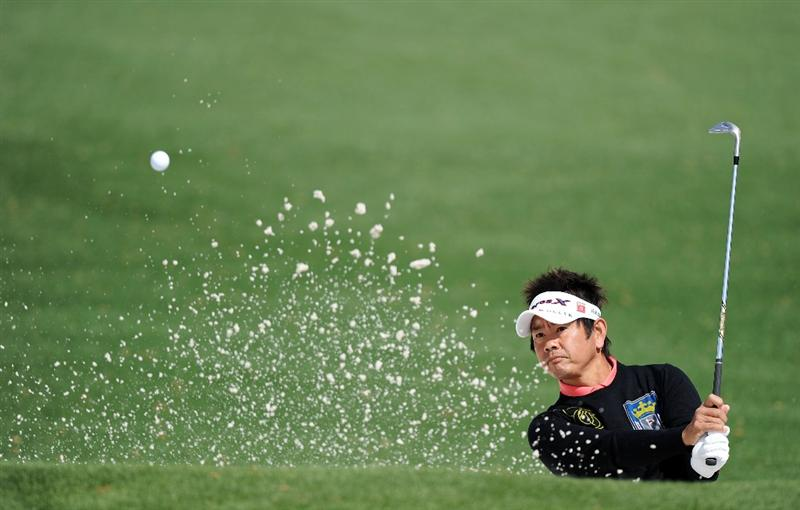 AUGUSTA, GA - APRIL 05:  Hiroyuki Fujita of Japan plays a shot during a practice round prior to the 2011 Masters Tournament at Augusta National Golf Club on April 5, 2011 in Augusta, Georgia.  (Photo by Harry How/Getty Images)