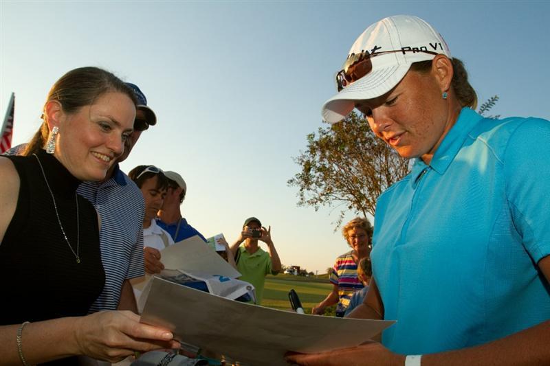 PRATTVILLE, AL - OCTOBER 10: Katherine Hull of Australia signs autographs following the final round of the Navistar LPGA Classic at the Senator Course at the Robert Trent Jones Golf Trail on October 10, 2010 in Prattville, Alabama. (Photo by Darren Carroll/Getty Images)