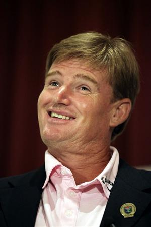 ST AUGUSTINE, FL - MAY 09:  PGA Hall of Fame golfer Ernie Els speaks to the media at the World Golf Hall of Fame 2011 Induction Ceremony on May 9, 2011 in St Augustine, Florida.  (Photo by Marc Serota/Getty Images for the World Golf Hall of Fame)