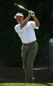 Rod Spittle hits his tee shot on the 10th hole during the final round of the Champions Tour - 2007 Greater Hickory Classic at Rock Barn Golf and Spa on September 16, 2007 in Conover, North Carolina . Champions Tour - 2007 Greater Hickory Classic at Rock Barn - Final RoundPhoto by Mike Ehrmann/WireImage.com