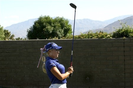 RANCHO MIRAGE, CA - APRIL 03:  Natalie Gulbis watches her tee shot on the 15th hole during the first round of the Kraft Nabisco Championship at Mission Hills Country Club on April 3, 2008 in Rancho Mirage, California.  (Photo by Stephen Dunn/Getty Images)