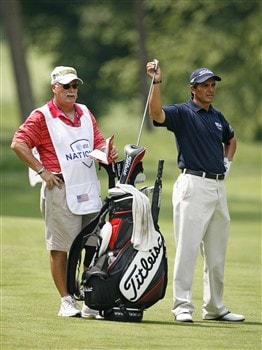 BETHESDA, MD - JULY 4: Tom Pernice, Jr. pulls a club from his bag on the 14th hole during the second round of the AT&T National at Congressional Country Club on July 4, 2008 in Bethesda, Maryland. (Photo by Hunter Martin/Getty Images)