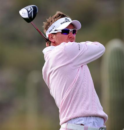 MARANA, AZ - FEBRUARY 21:  Ian Poulter of England plays his tee shot on the seventh hole during the final round of the Accenture Match Play Championship at the Ritz-Carlton Golf Club at  on February 21, 2010 in Marana, Arizona.  (Photo by Stuart Franklin/Getty Images)