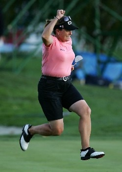 DANVILLE, CA - OCTOBER 6:  Lorie Kane of Canada celebrates a birdie putt on the 18th hole during the third round of the LPGA Longs Drugs Challenge at the Blackhawk Country Club October 6, 2007 in Danville, California.  (Photo by Robert Laberge/Getty Images)