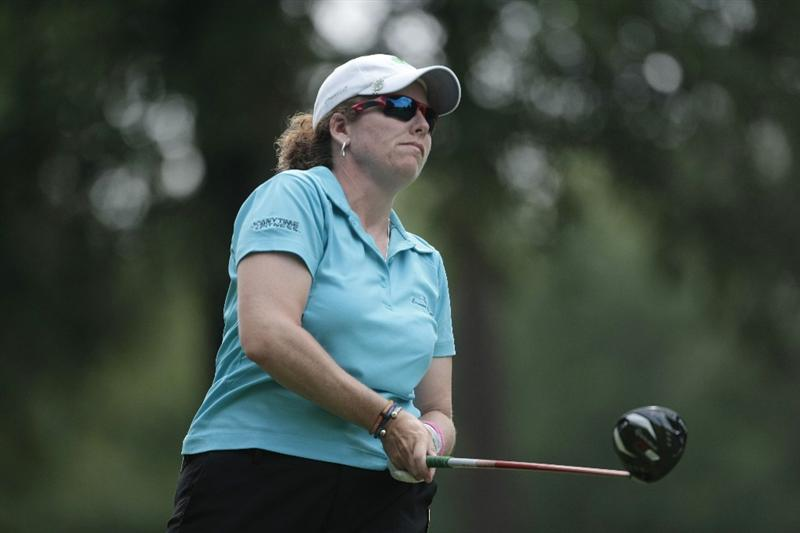 MOBILE, AL - MAY 13: Moira Dunn watches her drive from the 10th tee during first round play in Bell Micro LPGA Classic at the Magnolia Grove Golf Course on May 13, 2010 in Mobile, Alabama.  (Photo by Dave Martin/Getty Images)