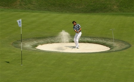 SHANGHAI, CHINA - APRIL 25:  Robert-Jan Derksen of The Netherlands plays out of a bunker on the 8th green during the 2nd round of the BMW Asian Open at the Tomson Shanghai Pudong Golf Club on April 25, 2008 in Shanghai, China.  (Photo by Ian Walton/Getty Images)