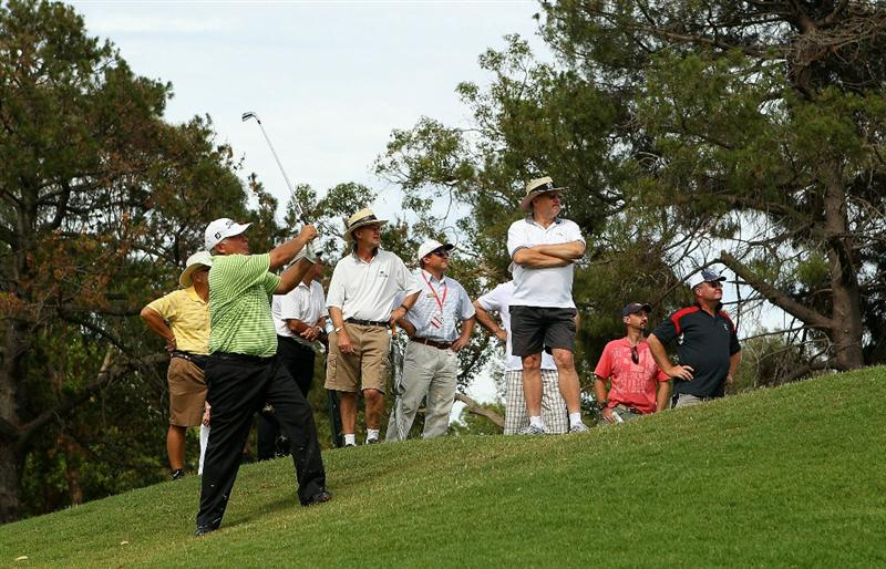 PERTH, AUSTRALIA - NOVEMBER 21:  Peter Senior of Australia plays an approach shot on the 15th hole during day three of the 2010 Australian Senior Open at Royal Perth Golf Club on November 21, 2010 in Perth, Australia.  (Photo by Paul Kane/Getty Images)