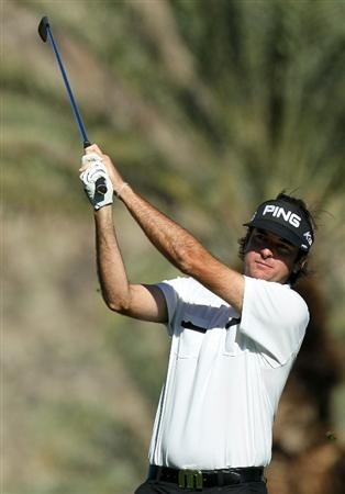 LA QUINTA, CA - JANUARY 20:  Bubba Watson hits his tee shot on the 16th hole during round two of the Bob Hope Classic at the La Quinta Country Club on January 20, 2011 in La Quinta, California. (Photo by Stephen Dunn/Getty Images)