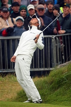 SOUTHPORT, UNITED KINGDOM - JULY 18:  Fredrik Jacobson of Sweden reacts to a shot on the 18th hole during the second round of the 137th Open Championship on July 18, 2008 at Royal Birkdale Golf Club, Southport, England.  (Photo by Andrew Redington/Getty Images)