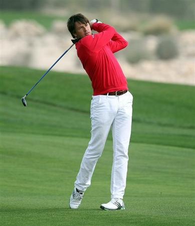 DOHA, QATAR - FEBRUARY 03:  Robert-Jan Derksen of the Netherlands during the first round of the Commercialbank Qatar Masters at the Doha Golf Club on February 3, 2011 in Doha, Qatar.  (Photo by Ross Kinnaird/Getty Images)