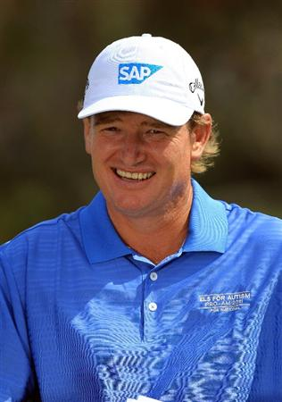 WEST PALM BEACH, FL - MARCH 21: Ernie Els of South Africa poses at the Els for Autism Pro-am at The PGA National Golf Club on March 21, 2011 in West Palm Beach, Florida.  (Photo by David Cannon/Getty Images)