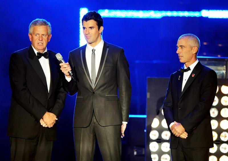 CARDIFF, WALES - SEPTEMBER 29:  (L-R) Colin Montgomerie, Stephen Jones and Corey Pavin speak onstage during Welcome To Wales at Millennium Stadium on September 29, 2010 in Cardiff, Wales.  (Photo by Eamonn McCormack/Getty Images)