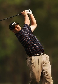 Brett Wetterich hits from the 12th tee during the first round of the 2005 Shell Houston Open at the Redstone Golf Club in Houston, Texas April 21, 2005.Photo by Steve Grayson/WireImage.com