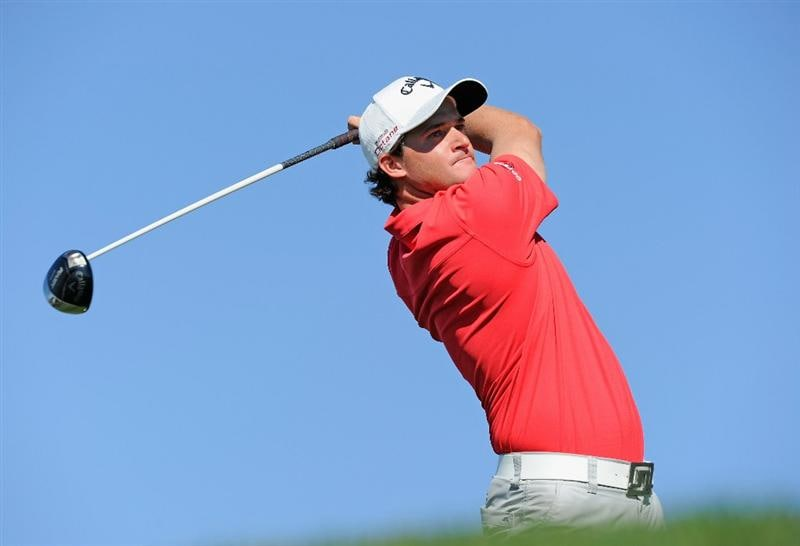 PEBBLE BEACH, CA - FEBRUARY 11: Sam Saunders plays his tee shot on the nineth hole during the second round of the AT&T Pebble Beach National Pro-Am at the Pebble Beach Golf Links on February 11, 2011  in Pebble Beach, California  (Photo by Stuart Franklin/Getty Images)