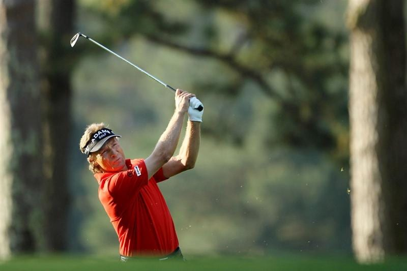 AUGUSTA, GA - APRIL 08:  Bernhard Langer of Germany hits a shot on the first hole  during the first round of the 2010 Masters Tournament at Augusta National Golf Club on April 8, 2010 in Augusta, Georgia.  (Photo by Jamie Squire/Getty Images)