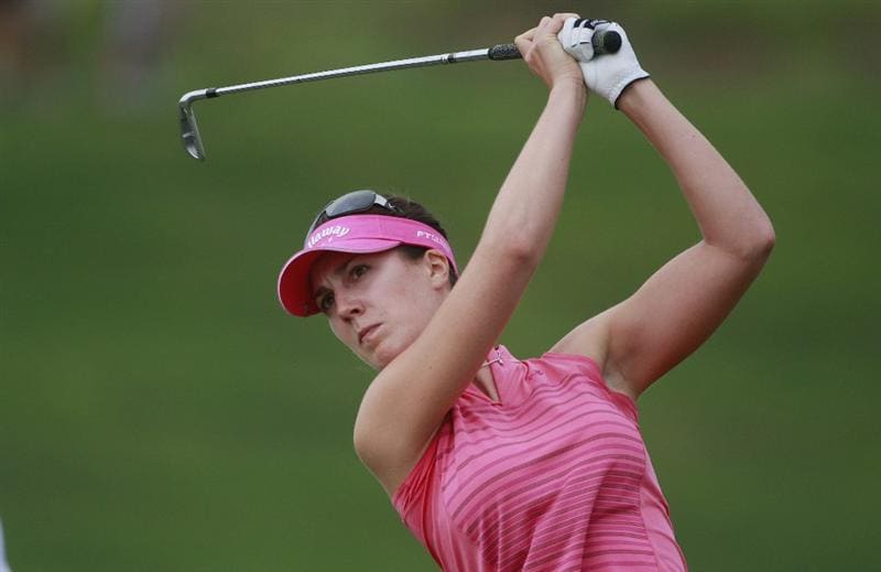 PRATTVILLE, AL - OCTOBER 4:  Sandra Gal of Germany hits her tee shot on the second hole during final round play in the Navistar LPGA Classic at the Robert Trent Jones Golf Trail at Capitol Hill on October 4, 2009 in  Prattville, Alabama.  (Photo by Dave Martin/Getty Images)