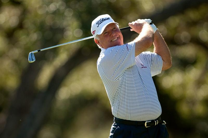 SAN ANTONIO, TX - OCTOBER 29: Mark O'Meara follows through on a tee shot during the first round of the AT&T Championship at Oak Hills Country Club on October 29, 2010 in San Antonio, Texas. (Photo by Darren Carroll/Getty Images)