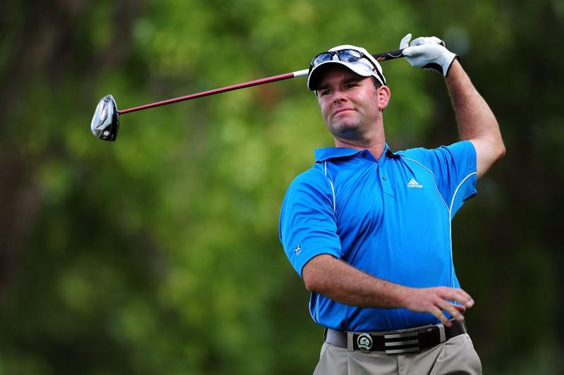 CHASKA, MN - AUGUST 13:  Greg Bisconti watches a shot during the first round of the 91st PGA Championship at Hazeltine National Golf Club on August 13, 2009 in Chaska, Minnesota.  (Photo by Stuart Franklin/Getty Images)