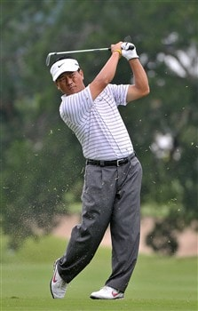 FORT WORTH , TX - MAY 22:  K.J. Choi hits his approach shot into the 10th hole during the first round of the Crown Plaza Invitational at Colonial Country Club on May 22, 2008 in Fort Worth, Texas.  (Photo by Marc Feldman/Getty Images)