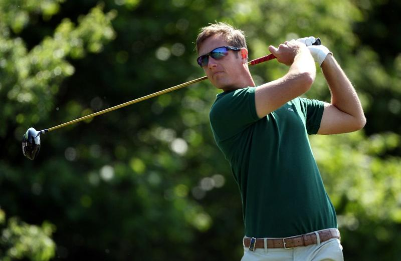NEWPORT, WALES - JUNE 03:  Nicolas Colsaerts of Belgium in action during the first round of the Celtic Manor Wales Open on The Twenty Ten Course at The Celtic Manor Resort on June 3, 2010 in Newport, Wales.  (Photo by Andrew Redington/Getty Images)
