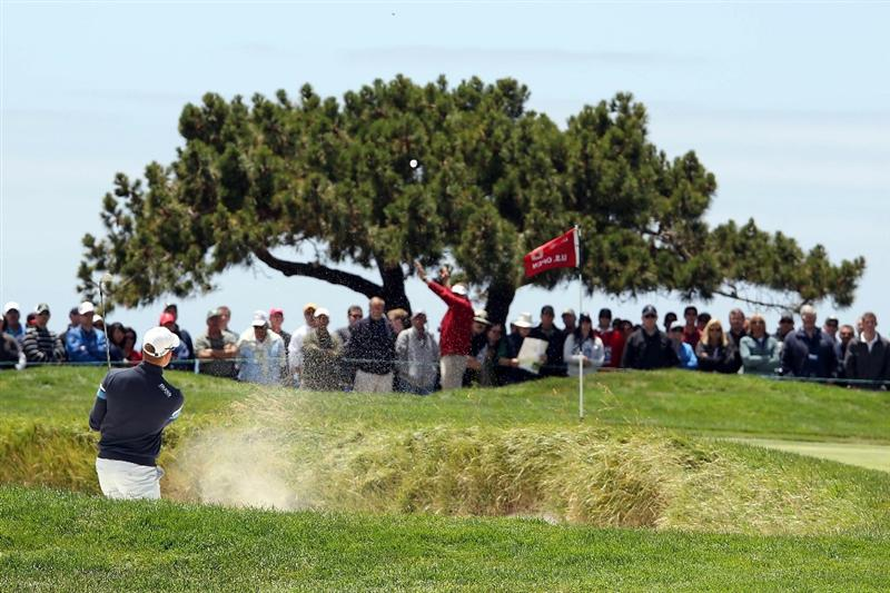 PEBBLE BEACH, CA - JUNE 19:  Henrik Stenson of Sweden plays from a bunker on the sixth hole during the third round of the 110th U.S. Open at Pebble Beach Golf Links on June 19, 2010 in Pebble Beach, California.  (Photo by Ross Kinnaird/Getty Images)