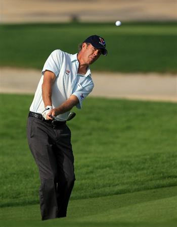 BAHRAIN, BAHRAIN - JANUARY 27:  Richard Green of Australia plays his second shot at the 16th hole during the first round of the 2011 Volvo Champions held at the Royal Golf Club on January 27, 2011 in Bahrain, Bahrain.  (Photo by David Cannon/Getty Images)