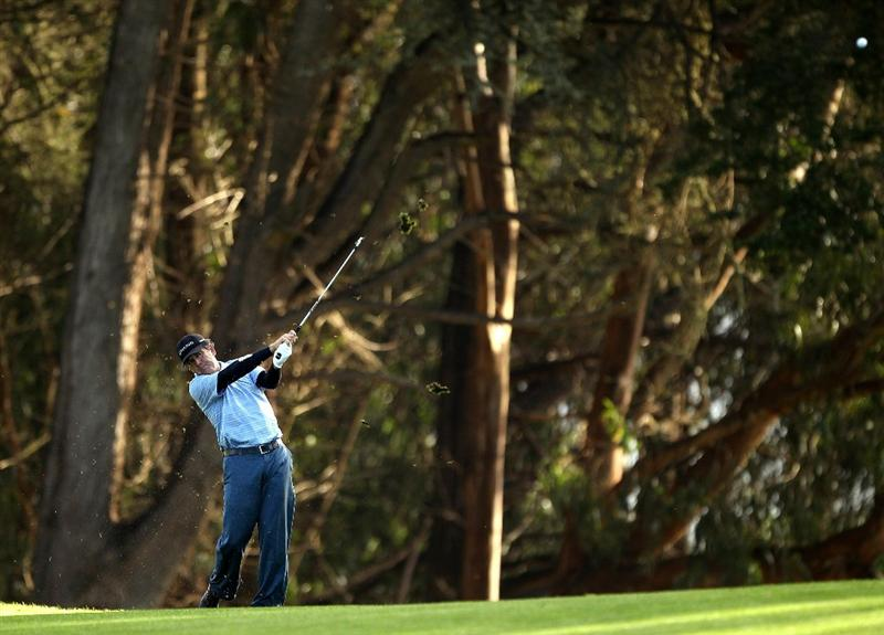 SAN FRANCISCO - NOVEMBER 07:  David Frost hits his second shot on the 14th hole during the final round of the Charles Schwab Cup Championship at Harding Park Golf Course on November 7, 2010 in San Francisco, California.  (Photo by Ezra Shaw/Getty Images)