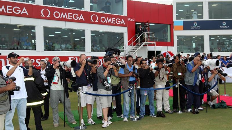 DUBAI, UNITED ARAB EMIRATES - DECEMBER 12:  Photgraphers at the presentation ceremony after the final round of the Dubai Ladies Masters, on the Majilis Course at the Emirates Golf Club on December 12, 2009 in Dubai, United Arab Emirates.  (Photo by David Cannon/Getty Images)
