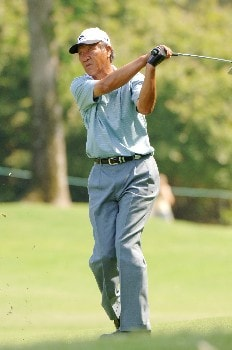 Isao Aoki follows a fairway shot into the eighth green   during the second round of  the 2005 Bruno's Memorial Classic, May 21, in Hoover, Al.Photo by Al Messerschmidt/WireImage.com
