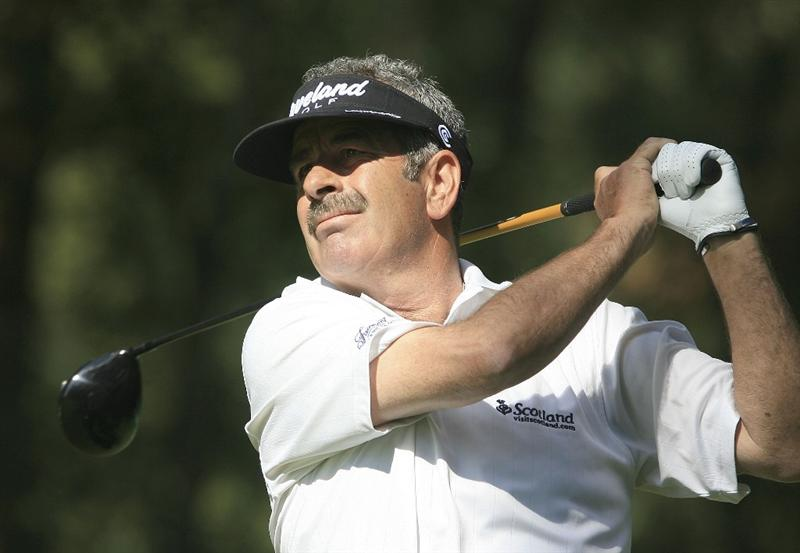 WOBURN, ENGLAND - SEPTEMBER 05:  Sam Torrance of Scotland in action during the second round of the Travis Perkins plc Senior Masters played at the Duke's Course, Woburn Golf Club on September 5, 2009 in Woburn, United Kingdom.  (Photo by Phil Inglis/Getty Images)