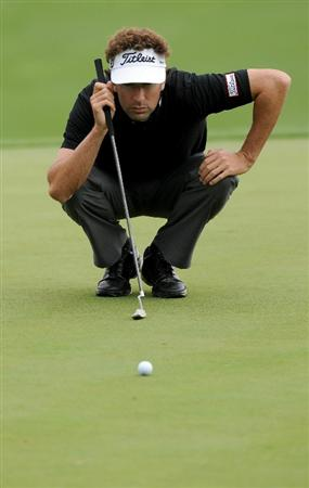 LAS VEGAS, NV - OCTOBER 22: Michael Letzig lines up his putt on the 6th hole during the second round of the Justin Timberlake Shriners Hospitals for Children Open on October 22, 2010 in Las Vegas, Nevada. (Photo by Steve Dykes/Getty Images)