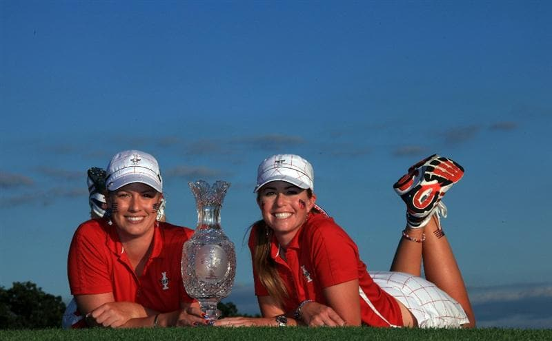 SUGAR GROVE, IL - AUGUST 23: Paula Creamer and Brittany Lincicome of the USA with the trophy after the Sunday singles matches at the 2009 Solheim Cup Matches, at the Rich Harvest Farms Golf Club on August 23, 2009 in Sugar Grove, Ilinois (Photo by David Cannon/Getty Images)