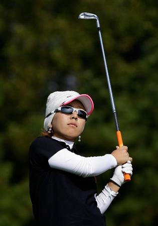 INCHEON, SOUTH KOREA - OCTOBER 31:  Mika Miyazato of Japan hits a tee shot on the 3rd hole during the 2010 LPGA Hana Bank Championship at Sky 72 Golf Club on October 31, 2010 in Incheon, South Korea.  (Photo by Chung Sung-Jun/Getty Images)