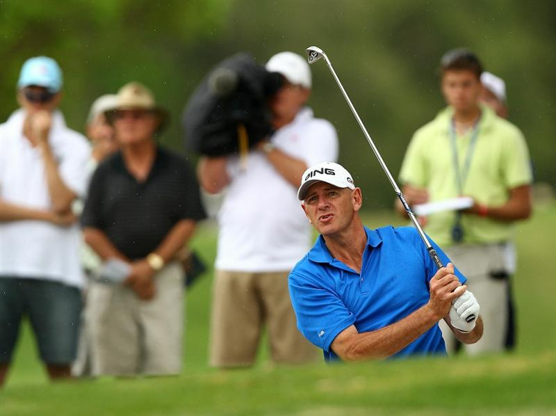 PERTH, AUSTRALIA - NOVEMBER 21:  Peter Fowler of Australia plays out of a bunker on the 13th hole during day three of the 2010 Australian Senior Open at Royal Perth Golf Club on November 21, 2010 in Perth, Australia.  (Photo by Paul Kane/Getty Images)