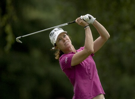 PORTLAND, OR - AUGUST 24: Helen Alfredsson of Sweden tees off at the par-3 13th hole during the final round of the LPGA Safeway Classic at the Columbia Edgewater Country Club on August 24, 2008 in Portland, Oregon. (Photo by Steven Gibbons/Getty Images)