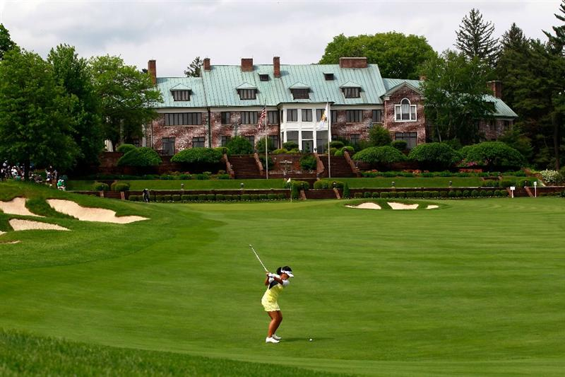 GLADSTONE, NJ - MAY 19:  Jenny Suh hits her second shot to the ninth green during round one of the Sybase Match Play Championship at Hamilton Farm Golf Club on May 19, 2011 in Gladstone, New Jersey.  (Photo by Chris Trotman/Getty Images)