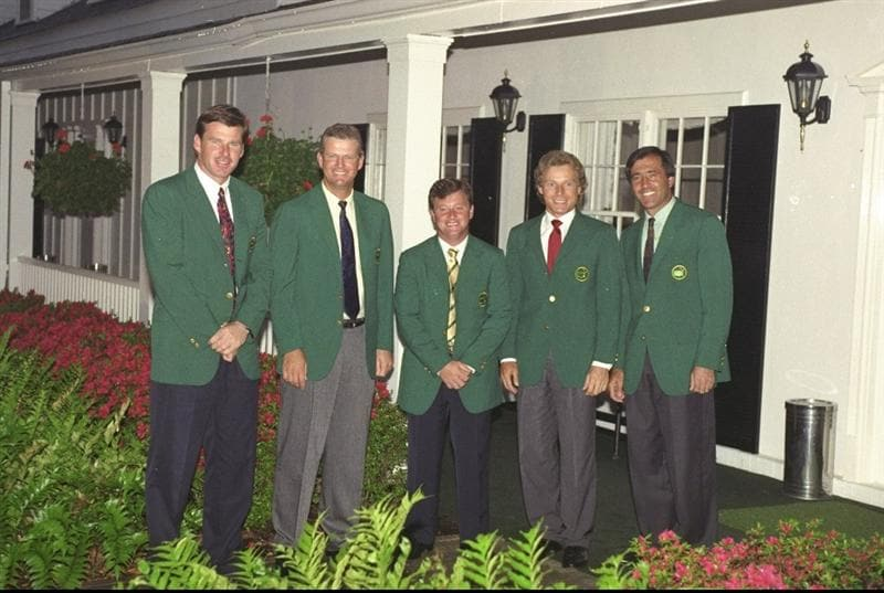 1992:  (Left to right) Nick Faldo of England, Sandy Lyle of Scotland, Ian Woosnam of Wales, Bernhard Langer of Germany and Seve Ballesteros of Spain pose for a photograph before a Champions dinner after the US Masters in Augusta, Georgia, USA. \ MandatoryCredit: Stephen  Munday/Allsport