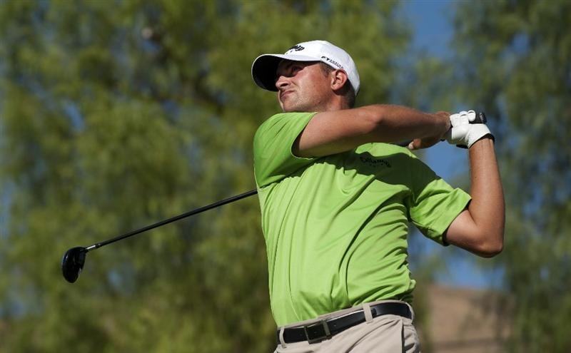SAN JACINTO, CA - OCTOBER 03: Brian Stuard makes a tee shot on the 16th hole during the third round of the 2009 Soboba Classic at The Country Club at Soboba Springs on October 3, 2009 in San Jacinto, California.  (Photo by Robert Laberge/Getty Images)