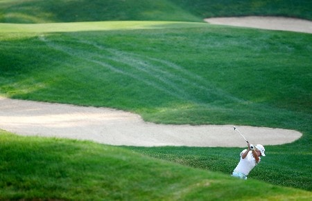 HAVRE DE GRACE, MD - JUNE 08:  Mhairi McKay of Scotland hits her second shot on the par 4 14th hole during the second round of the McDonalds LPGA Championship on June 8, 2007 at Bulle Rock golf course in Havre de Grace, Maryland.  (Photo by Andy Lyons/Getty Images)