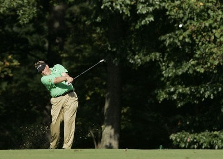 Tim Herron drives off the tee during the third round of the Chrysler Classic of Greensboro at Forest Oaks Country Club in Greensboro, North Carolina, Oct. 1, 2005.Photo by Michael Cohen/WireImage.com