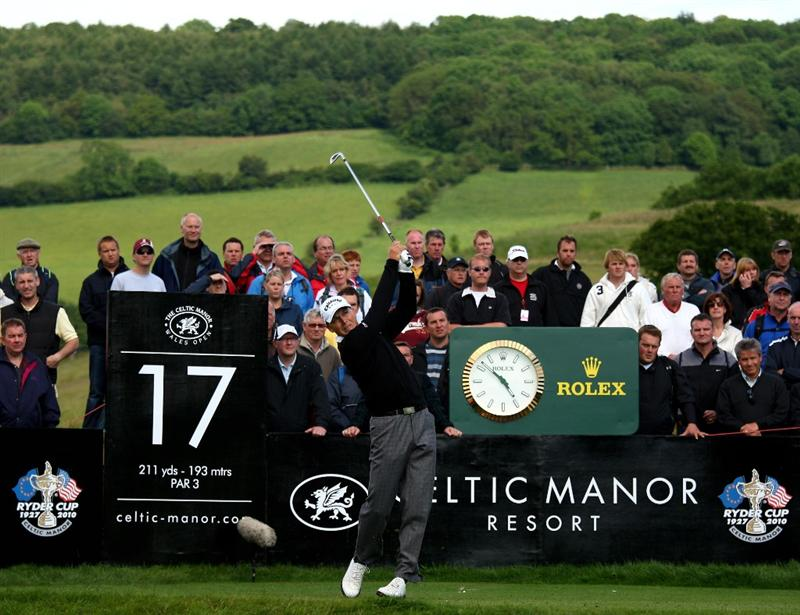 NEWPORT, WALES - JUNE 07:  Niclas Fasth of Sweden tee's off at the 17th during the final round of the Celtic Manor Wales Open on the 2010 Course at The Celtic Manor Resort on June 7, 2009 in Newport, Wales.  (Photo by Richard Heathcote/Getty Images)