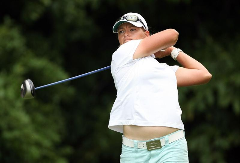 HAVRE DE GRACE, MD - JUNE 13: Katherine Hull of Australia hits her tee shot on the 4th hole during the third round of the McDonald's LPGA Championship at Bulle Rock Golf Course on June 13, 2009 in Havre de Grace, Maryland.  (Photo by Andy Lyons/Getty Images)
