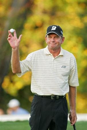 TIMONIUM, MD - OCTOBER 12: Nick Price acknowledges the gallery on the 18th green during the final round of the Constellation Energy Senior Players Championship at Baltimore Country Club East Course held on October 12, 2008 in Timonium, Maryland (Photo by Michael Cohen/Getty Images)