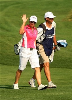 MT. PLEASANT, SC - MAY 31:  Annika Sorenstam of Sweden waves as she walks with her caddie Terry McNamara to the 18th green during the third round of the Ginn Tribute at RiverTowne Country Club on May 31, 2008 in Mt. Pleasant, South Carolina.  (Photo by Scott Halleran/Getty Images)