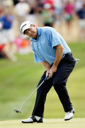 CARMEL, IN - AUGUST 02:  Fred Funk of the USA reacts after just missing a putt on the 16th hole during the 2009 U.S. Senior Open on August 2, 2009 at Crooked Stick Golf Club in Carmel, Indiana.  (Photo by Jamie Squire/Getty Images)