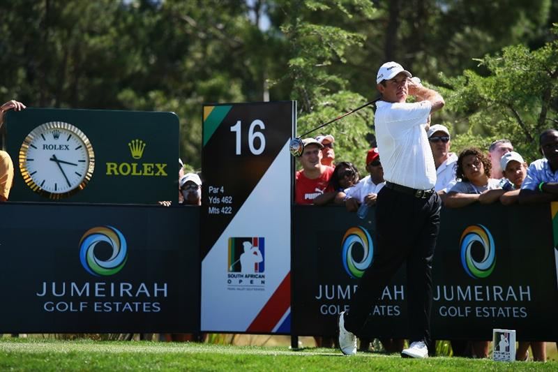 PAARL, SOUTH AFRICA - DECEMBER 21:  Lee Westwood of England tees off on the 16th hole during the final round of the South African Open Championship at Pearl Valley Golf & Country Club on December 21, 2008 in Paarl, South Africa.  (Photo by Warren Little/Getty Images)
