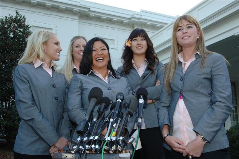 WASHINGTON - JANUARY 12:  (L-R) Natalie Gulbis, Brittany Lincicome, Christina Kim, Michelle Wie, and Paula Creamer of the 2009 United States Solheim Team talk to the media at the White House during visit to celebrate team win in Solheim Cup January 12, 2010 in Washington, DC.  (Photo by Mitchell Layton/Getty Images)