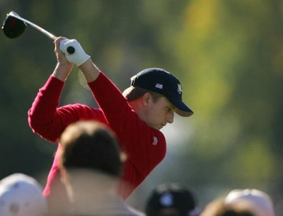 David Toms of the U.S. team hits a shot on the 9th hole during the round 3 morning foursome matches of The Presidents Cup on September 29, 2007, at The Royal Montreal Golf Club in Montreal, Quebec, Canada. PGA TOUR - 2007 The Presidents Cup - Third RoundPhoto by S.Greenwood/WireImage.com
