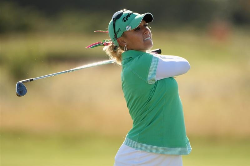 LYTHAM ST ANNES, ENGLAND - JULY 30:  Natalie Gulbis of USA hits her second shot on the 16th hole during the first round of the 2009 Ricoh Women's British Open Championship held at Royal Lytham St Annes Golf Club, on July 30, 2009 in  Lytham St Annes, England.  (Photo by Warren Little/Getty Images)
