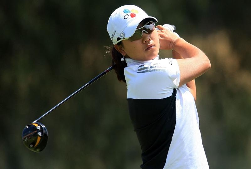 HUIXQUILUCAN, MEXICO - MARCH 21:  Seon Hwa Lee of South Korea hits her tee shot on the 18th hole during the second round of the MasterCard Classic at the BosqueReal Country Club on March 21, 2009 in Huixquiucan, Mexico.  (Photo by Scott Halleran/Getty Images)